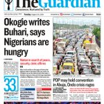 Inside The Guardian on Tuesday – Okogie writes Buhari, says Nigerians are hungry. Get The Guardian today. https://t.co/Khnq7dG0tD