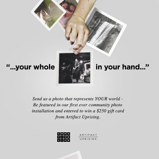 CreativeLive @creativeLIVE: We partnered w/ @ArtifactUprsng for a special community photo installation!