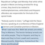 Paul LePage at it again, says Massachusetts Hispanics & blacks fueling drug trade in Maine: https://t.co/YMZGtzDbuU https://t.co/RzpmBJ2MPg