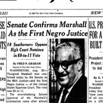 Today in 1967: Thurgood Marshall is confirmed as 1st African American Supreme Court Justice. https://t.co/cll1jyne3c https://t.co/BbucVDopNP