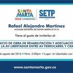 Alcalde @mrafael70 Invita al Inicio de Obra de Rehabilitación y Adecuación de la Av Libertador entre Av Ferrocarril. https://t.co/p6v8AFak3p