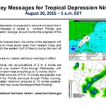 Key Messages from NHC regarding Tropical Depression Nine - 5 a.m. EDT Tuesday. https://t.co/tW4KeGdBFb @NHCDirector https://t.co/aHO01b6zFY