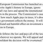 Statement from Apple re: European Commission: $AAPL https://t.co/viYnXTL6Tj