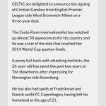 El Celtic FC hace oficial el fichaje de Cristian Gamboa (@Cris_GamboaCR) ¡Con todo Gambolt! https://t.co/Aq8bfSuejl
