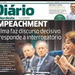 Diário do Nordeste, única capa de jornal no Brasil q faz justiça ao discurso de Dilma Rousseff no Senado: https://t.co/lLJCTNaDSR
