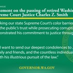 .@GovInslee statement on passing of retired WA Supreme Court Justice Charles Z. Smith https://t.co/3gBHetYDfX https://t.co/vvYQQCqKZl