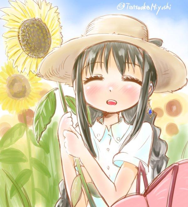 #まどマギ版真剣深夜の創作60分一本勝負 お題「麦わら帽子」夏の終わりっぽく。この後日焼けが大変だったとか。#まどほむ #暁美ほむら #まどマギ https://t.co/fM2R4Trp5v