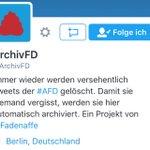 Immer wieder werden Tweets der #AfD- gelöscht. Damit sie nicht vergessen werden, gibts jetzt: @ArchivFD #noafd https://t.co/Sabhc3j9b7