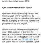 Daar is ie eindelijk: de bevestiging van #Ajax ... Ziyech tekent 5 jaar https://t.co/P0g9e6Rppa