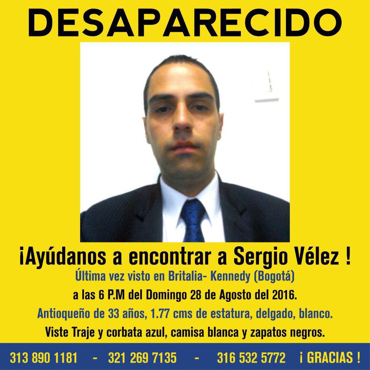 Servicio social. Ayúdenos a encontrar a #SergioVelez. Visto por última vez el domingo barrio Britalia, loc Kennedy https://t.co/Ldtc4XT4zn