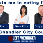 Chandler voters, please join me today in voting for Gregg Pekau, Nora Ellen, and Matt Eberle for City Council! https://t.co/YDDrlDekaa