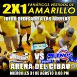 Mañana las 1ras Mil personas vestidos de amarillos pagaran 2x1 en la entrada general #EnMiCasaNo #playoffslnb2016 https://t.co/gaSqea8Ir1