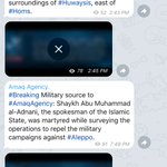 1. Important news out of Syria: ISIS Amaq News Agency is confirming that spokesman Abu Muhammad al-Adnani is dead. https://t.co/Qhvfs3CDJ8