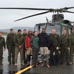 The rescue happened near Bennett Lake earlier today. Group photo on the #Whitehorse tarmac https://t.co/M5L9JC36R4