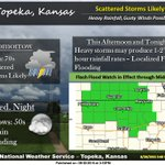 """Sct. storms today/tonight may produce heavy rainfall up to 2"""" per hour. Gusty winds up to 50 mph are possible.#kswx https://t.co/hqlofV5pUj"""