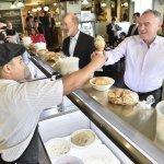 VP Candidate Tim Kaine gets an ice cream from Matt Heiser in Strasburg. Gov. Tom Wolf Was also along for the stop. https://t.co/j5uJXDgtJP