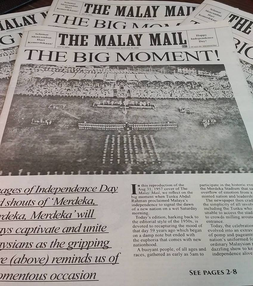 Today @malaymail celebrates Merdeka as it was in 1957. Get your copy now! https://t.co/ZQnXPBWX9M