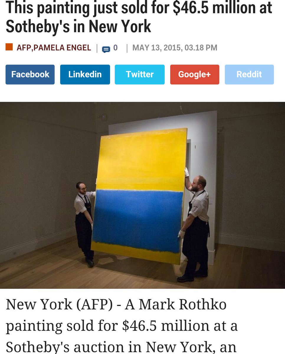 """Asian paints shade card accidentally sold for $46.5 million at Sotheby's"" #AlternateHeadlines https://t.co/vvNIYmgWIb"