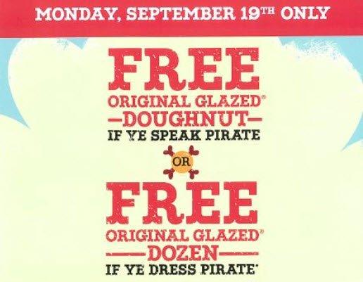 Krispy Kreme Talk Like a Pirate Day: Free Doughnut 9/19 – No Purchase Necessary! https://t.co/D4og9yrupu https://t.co/fEm6g0A4fV
