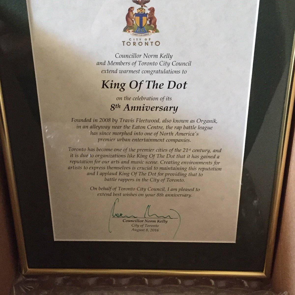 We are truly humbled. Thank you @norm and the City of Toronto for your recognition of KOTD! https://t.co/RPv9dWlAhR