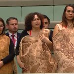 Wiradjuri woman Lynnette Riley sang Linda Burney into federal parliament in traditional language. https://t.co/smQksh95OI
