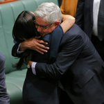 Ken Wyatt, the first Indigenous male MP in the House of Reps, embraces Linda Burney, the first Indigenous female https://t.co/76smRYBHkC