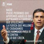 """""""Nadie puede pedirnos que apoyemos aquello que aspiramos a cambiar"""" @sanchezcastejon #RazonesParaElNo #NOesNO https://t.co/sqJ8Qtyo3X"""