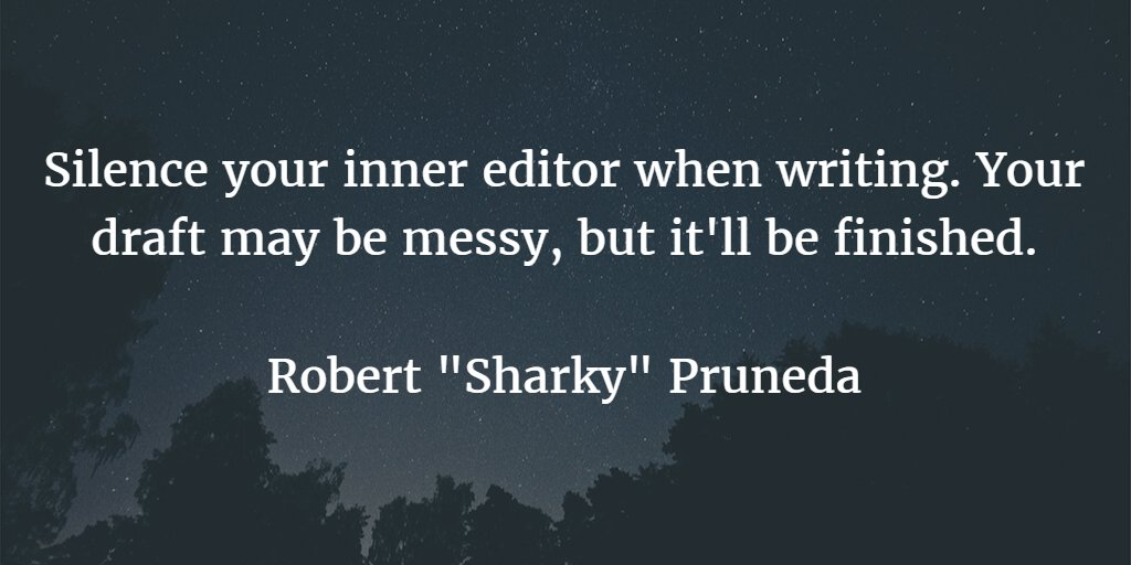 Silence your inner editor when writing. Your draft may be messy, but it'll be finished. #amwriting #WriteTip https://t.co/FWvjFYmL75