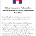 En tu cara Enrique Peña Nieto 👇🏻  Respuesta de HILLARY a visita de TRUMP   ¡Qué vergüenza @EPN!  (Vía @politicomx) https://t.co/7N00vSoVLz