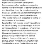 """Session Proposal: """"Microservcies in @Docker Containers"""" @HPE @GehaniNeil #DevOps #Microservices #ContinuousTesting https://t.co/eEiZUy0Yjc"""