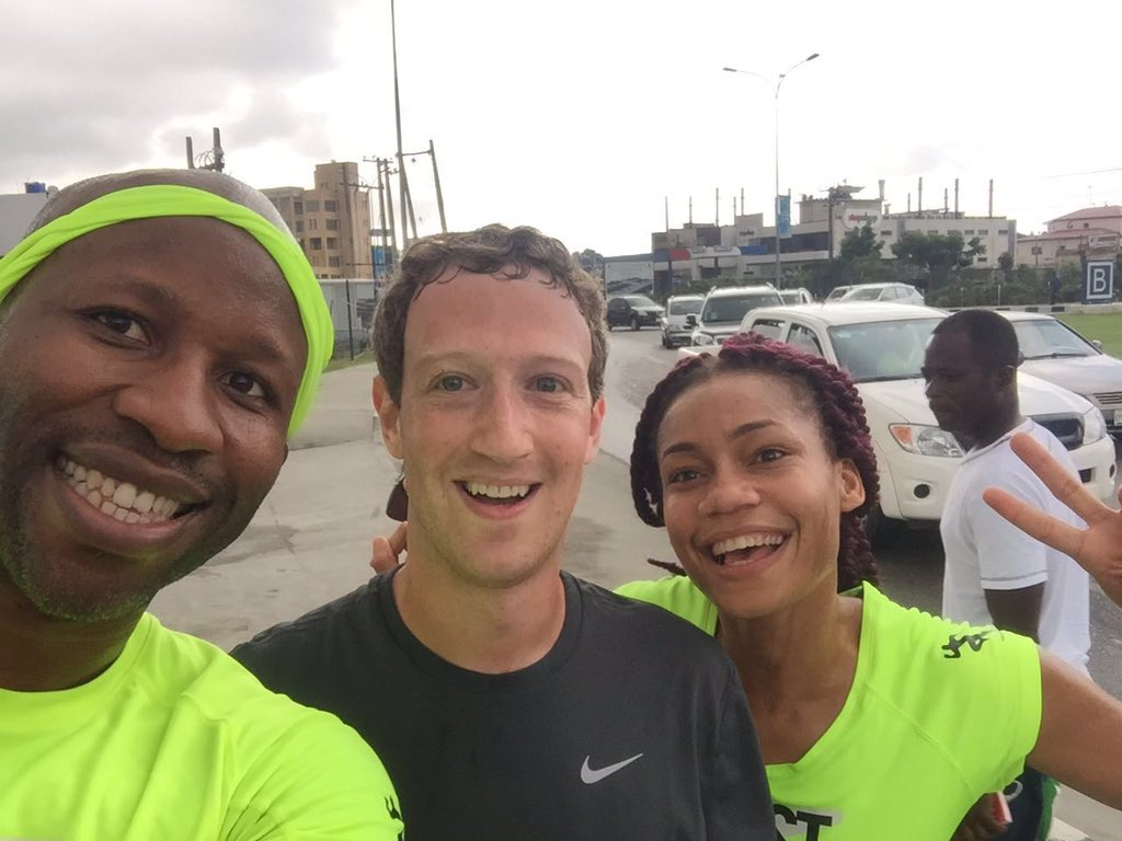 Just ran 1.5m w Mark Zuckerberg! He killed me 1st mile! Pushed me to 8min. Was so beat & slowed I missed a photo!