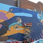 Massive #mural by Rustam QBic of #Russia on the @HanoverTheater #Worcester #WorcesterMA #Localart #Massachusetts https://t.co/k1iAc9llPz