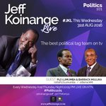 If its Wednesday its all about #Politics101 #JKL @KTNKenya @10:15pm with THE Best Political Tag-Team on TV! Oh MY! https://t.co/10eoVlKIeX