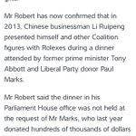 Stuart Robert met with Chinese billionaire, in the parliament present were Tony Abbott & Greg Hunt #abc730 #AusPol https://t.co/PzwnplZ95X