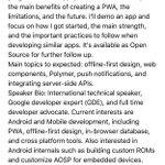 "Session Proposal: ""How I built this PWA"" @Vaadin @amahdy7 #BigData #Mobile #IoT #ML #PWA #GDE #DigitalTransformation https://t.co/WNp4oZRGYx"