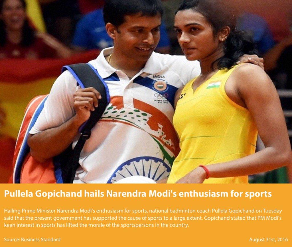 RT @nsitharaman: Pullela Gopichand hails Narendra Modi's enthusiasm for sports https:/ ...
