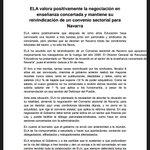 @DiariodeNavarra @GOLzalez Sobre la Concertada ELAemitió este comunicado.Hoy nos hemos reunido delegados y afiliados https://t.co/OFFh2xr7ii