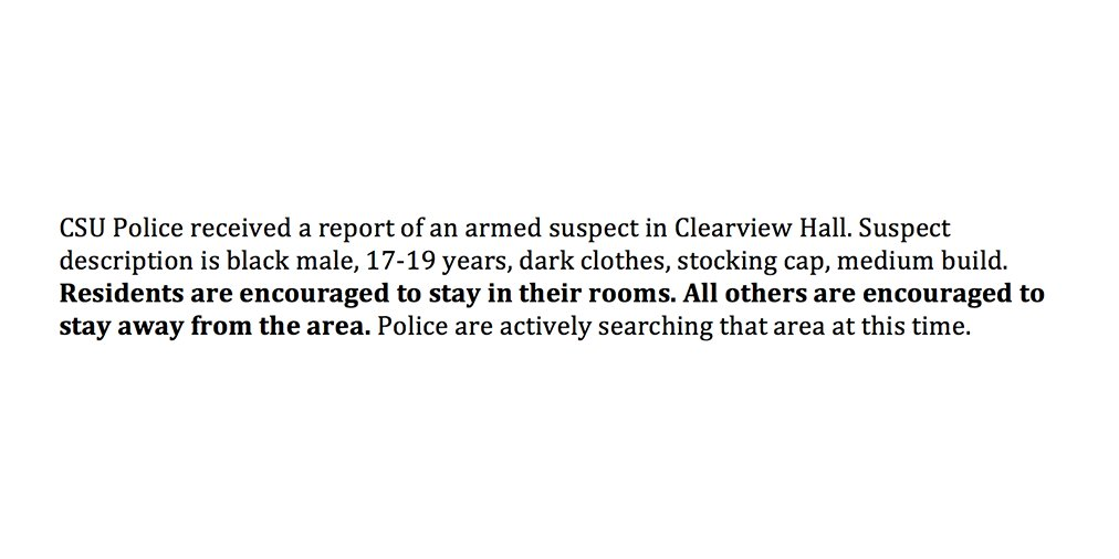 COUGAR ALERT: Report of an armed suspect in Clearview Hall. Residents encouraged to stay in rooms. https://t.co/qQhotQ31Qz