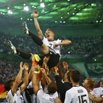 Bastian Schweinsteiger is held aloft by his Germany teammates for one last time. Incredible photo. https://t.co/h7apuvJgjk