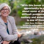 Congrats to @michiganstateus Joan Rose on winning @siwi_waters prestigious #StockholmWaterPrize! #WWWeek https://t.co/EjhBOjVSd0