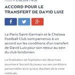 BREAKING ! Le PSG annonce avoir trouvé un accord avec Chelsea pour le transfert de David Luiz ! https://t.co/YSyAHdhJhb