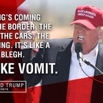 """#Trump on immigrants coming across the border: """"Its like vomit."""" #TrumpInMexico https://t.co/FSAOLY82pg"""