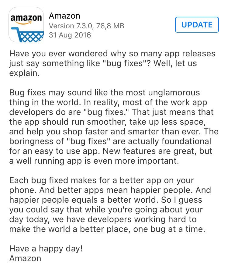 Glad to see there are still companies that care about honest and meaningful release notes https://t.co/xV1LdXLQWW