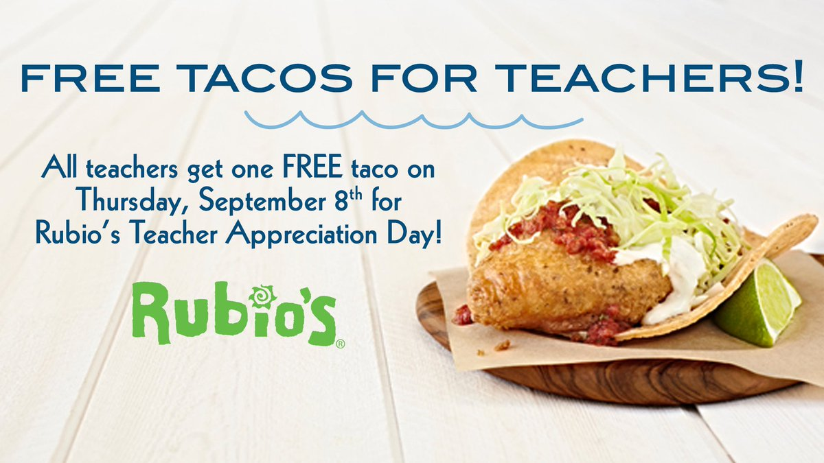 Spread the word! Free Tacos for Teachers Thursday, September 8th! https://t.co/fcQqd5wUbn https://t.co/1zkHO850Qy