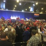 Sheriff Joe Arpaio enters Trump rally in Phoenix flanked by security guards. Crowd sends up cheers. https://t.co/NBUSgknfAW