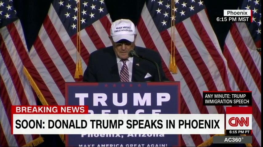 Rudy Giuliani's hat says 'MAKE MEXICO GREAT AGAIN ALSO.'