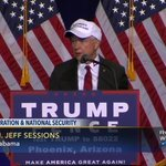 """Rudy Giuliani & Sen. Jeff Sessions wear """"Make Mexico Great Again Also"""" hat prior to Trump #immigration speech. https://t.co/mzvFqiR3zt"""