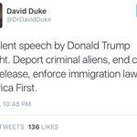 Two of Americas leading white supremacists praise Trumps immigration speech tonight. #TrumpAZ https://t.co/qDXlWzTccC