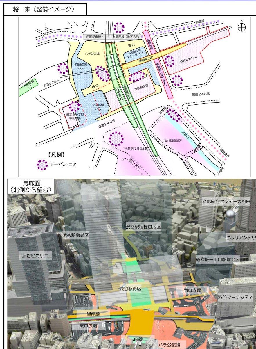 @kurokawa_t 渋谷駅周辺は今後10年くらい再開発が進みますが最終的にはアーバンコアを持つ施設が複数できる予定です / 渋谷駅中心地区基盤整備方針 https://t.co/Ps2GFNJeHs https://t.co/VmuUY9mI4t