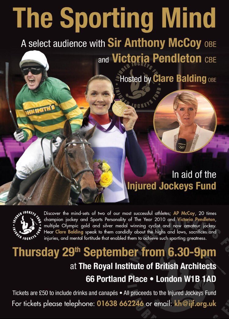 The Sporting Mind hosted by @clarebalding is on 29th Sep with @AP_McCoy & @v_pendleton for @IJF_official  #RT #Share https://t.co/Mnr27sXTD3